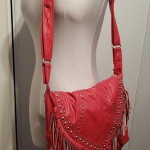 Large Red Leather fringe purse